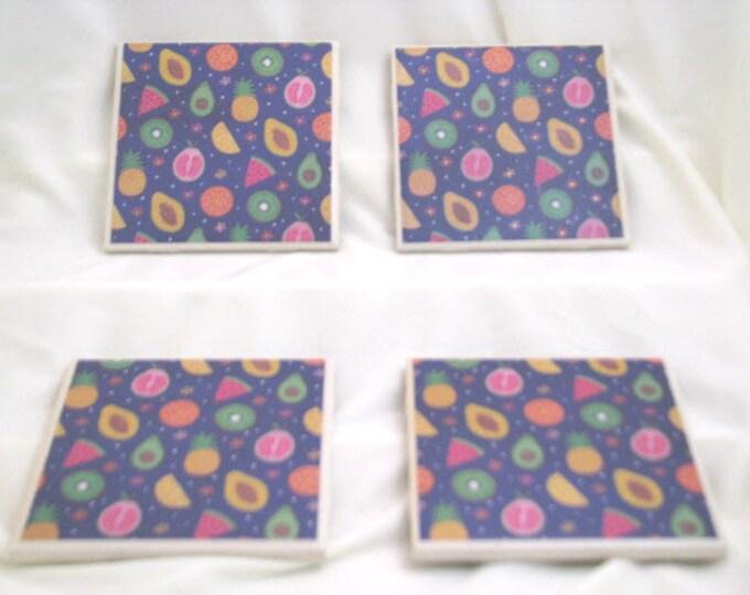 Coasters for Drinks -  Handmade Coasters - Avocado Kiwi Papaya Pineapple Watermelon - Tropical Fruits - Drink Coasters - Decoupage Coasters