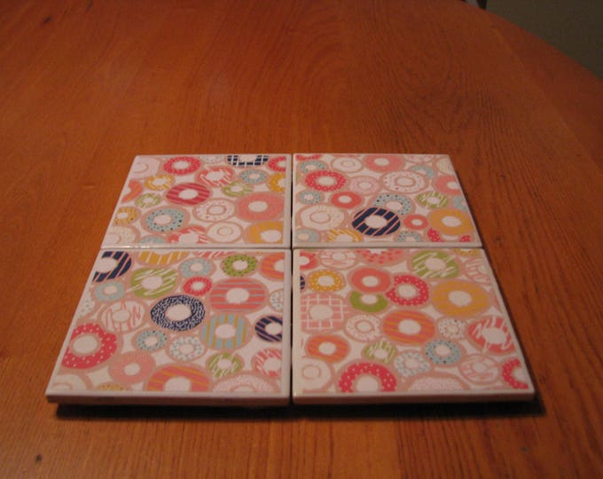 Coasters for Drinks - Tile Coasters - Handmade Coasters - Multicolored Donuts - Coasters - Drink Coasters - Decoupage Coasters