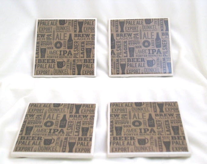 Coasters for Drinks - Craft Beer theme - Handmade Coasters - Beer Lovers - Teachers gift - Coasters - Drink Coasters - Decoupage Coasters