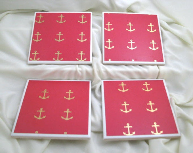 Coasters for Drinks - Father's Day gift - Handmade Coasters - Gold Anchors on Red background - Drink Coasters - Decoupage Coasters Nautical
