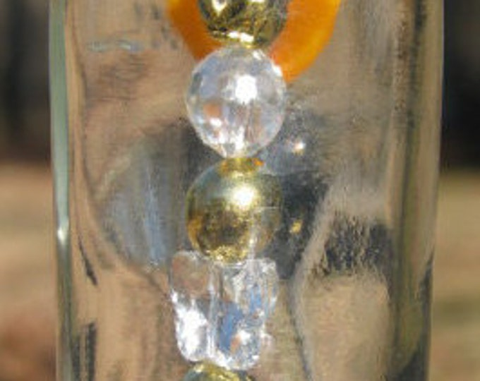 Vintage nipper bottle wind chime, suncatcher, butterfly and gold beads, crystal charm, gifts for him, housewarming, garden patio decor beach