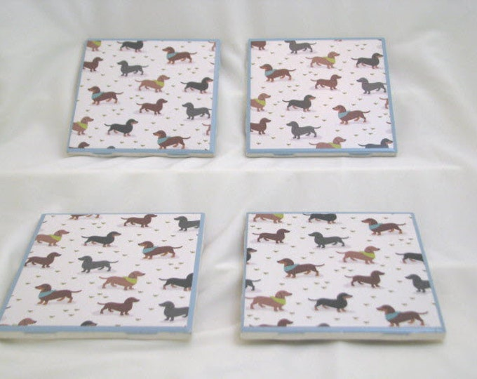 Coasters for Drinks - Tile Coasters - Handmade Coasters - Dachshunds - Weiner dogs - Coasters - Drink Coasters - Decoupage Coasters