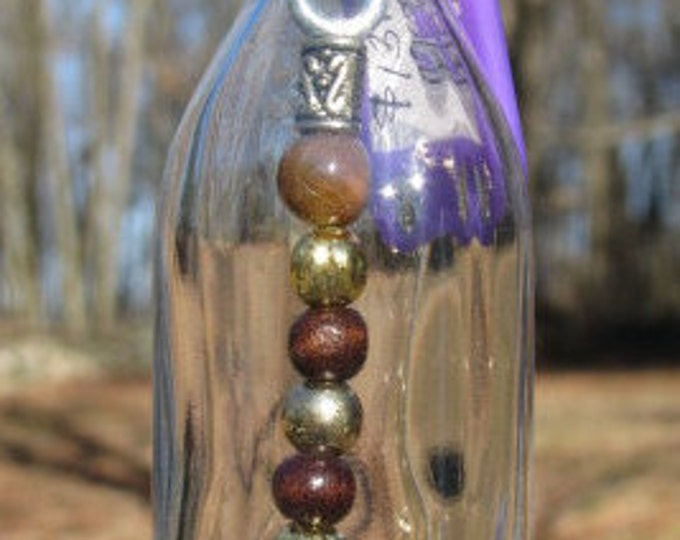 Scotch nipper bottle wind chime suncatcher brown and gold beads, boxer dog figurine, gifts for him, housewarming gift, garden patio decor