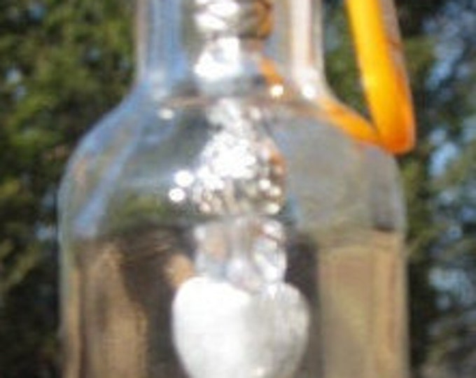 Vodka nipper bottle wind chime, suncatcher silver and sparkling beads, silver palm tree charm gifts for her housewarming, garden patio decor