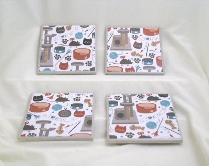 Coasters for Drinks - Tile Coasters - Handmade Coasters - Cute Cat Theme - Cat Lovers - Coasters - Drink Coasters - Decoupage Coasters