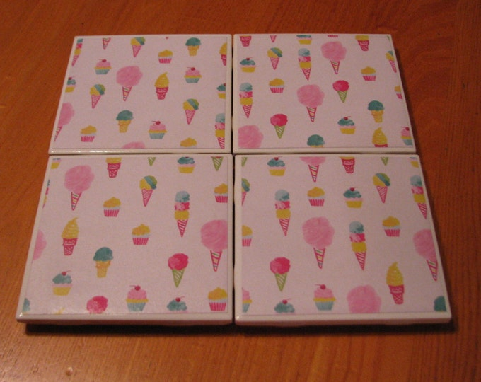 Coasters for Drinks - Tile Coasters - Handmade Coasters - Cupcakes and Ice Cream Cones - Coasters - Drink Coasters - Decoupage Coasters