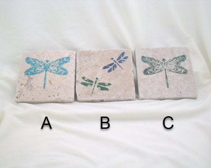 Natural Stone Absorbent Coasters Drink Coasters, Dogs and Cats, Butterflies, Dragonflies, Pawprints, Beer and Wine, Beach and Nautical theme