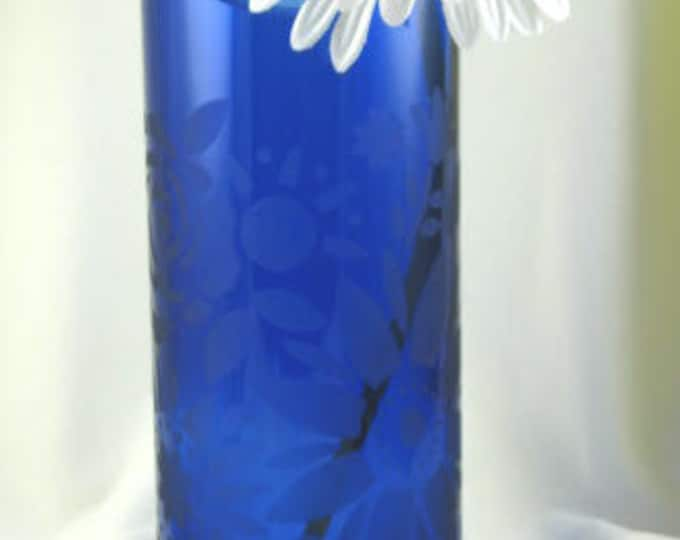 Blue Skyy vodka bottle vase, large flower etching, wine gifts, wine lovers, gifts for her, housewarming gift, garden decor, patio decor