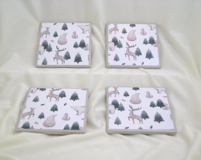 Coasters for Drinks - Father's Day gift - Handmade Coasters - Evergreens Polar Bears Deer Stag Foxes - Drink Coasters - Decoupage Coasters