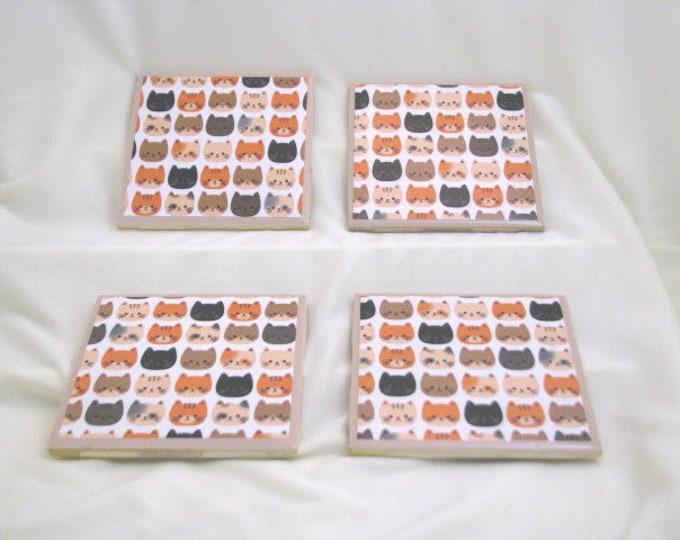 Coasters for Drinks - Tile Coasters - Handmade Coasters - Cute Kitty Faces - Coasters - Drink Coasters - Decoupage Coasters