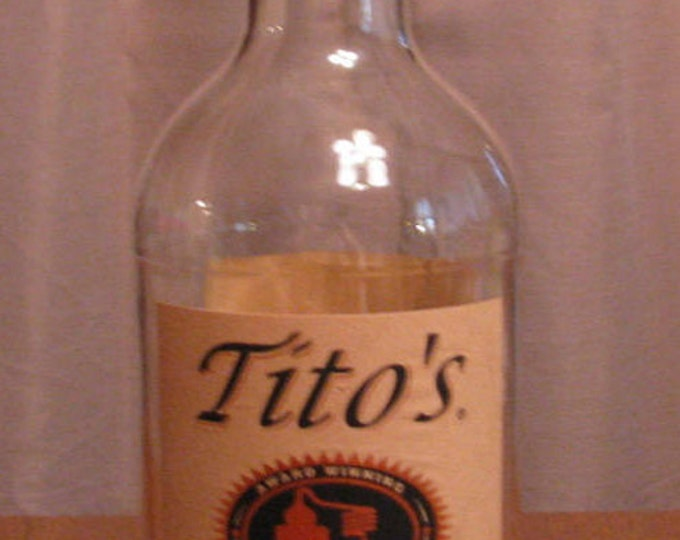 Tito's Handmade Vodka empty 1 Liter bottle, bottle crafts, liquor bottle for DIY projects, empty liquor bottle, bottle for craft projects