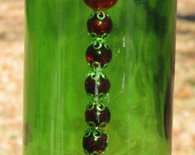 Green Wine bottle wind chime, wine gifts, Cheers glasses pendant, wine lovers, gifts for him,  gifts for her, home decor garden patio decor