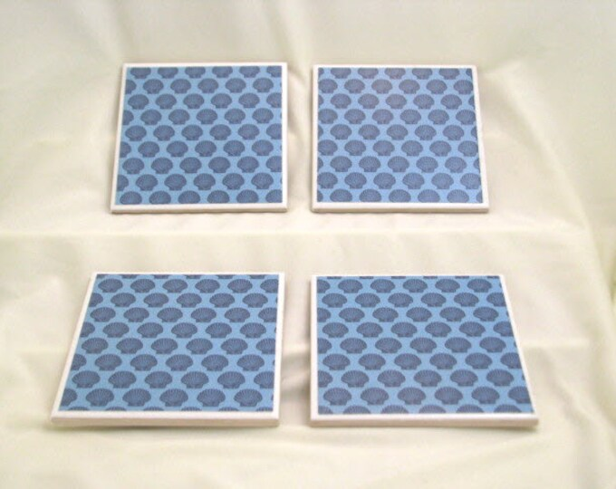 Coasters for Drinks - Father's Day gift - Handmade Coasters - Dark blue scallops - Ocean Beach Lovers - Drink Coasters - Decoupage Coasters