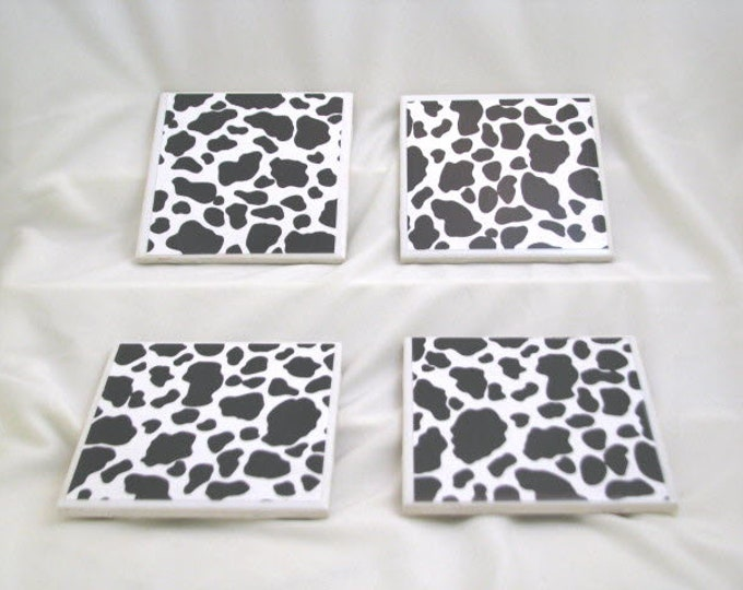 Coasters for Drinks - Tile Coasters - Handmade Coasters - Black and White Cow pattern - Coasters - Drink Coasters - Decoupage Coasters