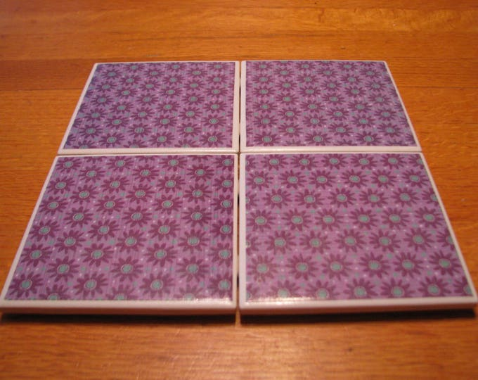 Coasters for Drinks - Tile Coasters - Handmade Coasters - Purple & Turquoise geometric flower pattern - Drink Coasters - Decoupage Coasters