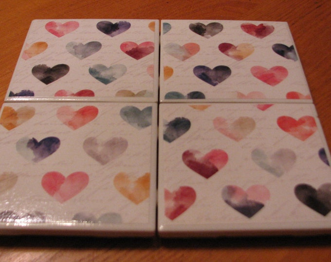 Coasters for Drinks - Tile Coasters - Handmade Coasters - Multicolored Hearts Pattern - Coasters - Drink Coasters - Decoupage Coasters
