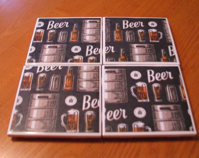 Coasters for Drinks - Tile Coasters - Handmade Coasters - Beer Lovers - Teachers gift - Coasters - Drink Coasters - Decoupage Coasters