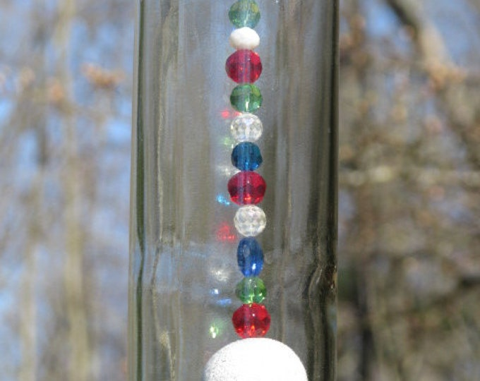 Clear Wine bottle wind chime, Christmas Theme, Christmas Tree, wine gifts, gifts for her, home decor wine lover, Christmas lover