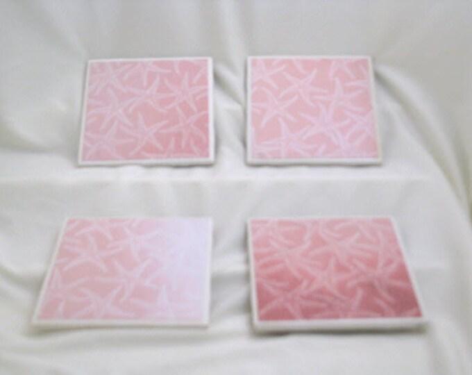 Coasters for Drinks - Tile Coasters - Handmade Coasters - Coral Starfish - Ocean lovers, beach lovers Drink Coasters - Decoupage Coasters