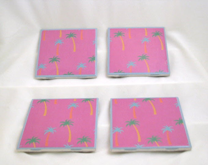 Coasters for Drinks -  Handmade Coasters - Green and Blue Palm Trees - Hot Pink - Ocean Beach Lovers - Drink Coasters - Decoupage Coasters