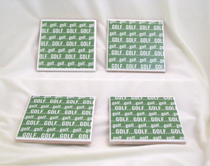 Coasters for Drinks - Tile Coasters - Handmade Coasters - Golf Theme - Golf Lovers - Sports lovers -  Drink Coasters - Decoupage Coasters