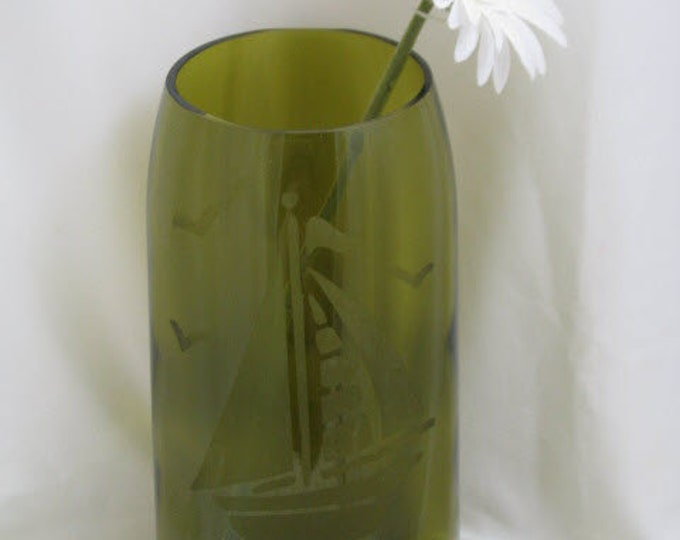 Green/gold wine bottle vase, sailboat etching, wine gifts, wine lovers, gifts for her or him, housewarming gift, garden decor, patio decor
