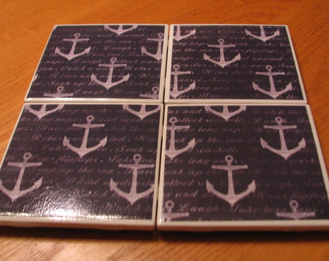 Coasters for Drinks, Tile Coasters, Handmade Coasters, Large Anchors - Nautical theme -  Beach lovers Drink Coasters - Decoupage Coasters