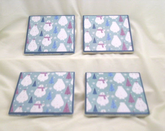Coasters for Drinks - Father's Day gift - Handmade Coasters - Cute Polar Bears and Trees - Winter theme- Drink Coasters - Decoupage Coasters