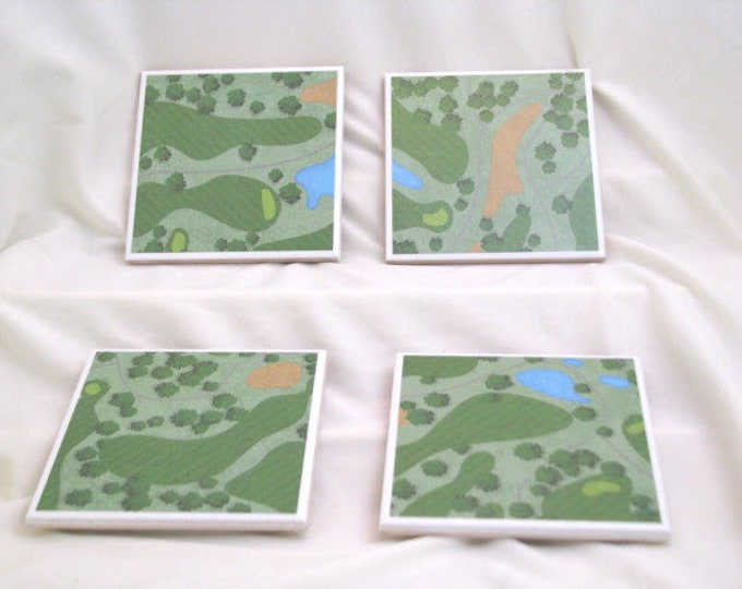 Coasters for Drinks - Tile Coasters - Handmade Coasters - Golf Theme - Golf Course pictures - Golf Lovers - Decoupage Coasters