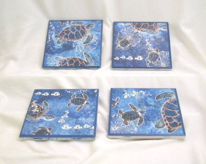 Coasters for Drinks - Father's Day gift - Handmade Coasters - Blue Sea Turtles - Ocean Beach Lovers - Drink Coasters - Decoupage Coasters