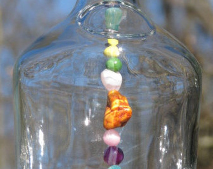 Hennessy bottle wind chime, Camper wind sail, fancy multicolor beads, gifts for him, gifts for her, housewarming gift, garden patio decor