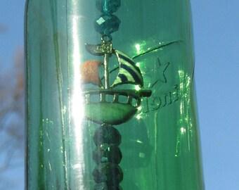 Heineken bottle wind chime, fancy nautical theme beads, sparkle pendant, gifts for him, housewarming gift, garden decor, patio decor