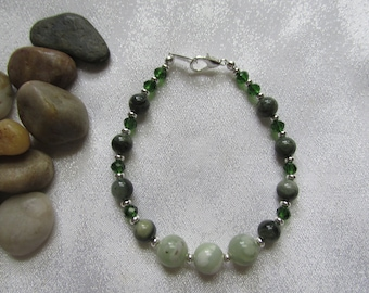 Peace Jade and Green Line Jasper Bracelet