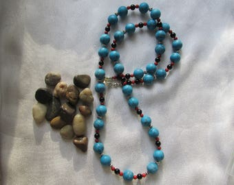 Turquoise Necklace with Black Onyx and Coral