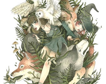 Familiars Watercolour and Ink Illustration ~ Giclee Print