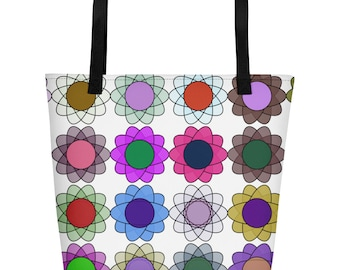 Cyberatomic Flower beach bag