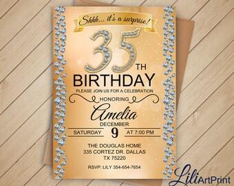 Brilliants 35th Birthday Invitation Any Age Invite Digital File W 33