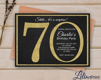 70th Birthday Invitation Gold Glitter Invite Digital File 9