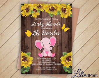 Cats baby shower invitation printable baby shower sunflower etsy elephant baby shower invitation printable baby shower sunflower baby shower invite wood baby shower invitation digital file 71 filmwisefo