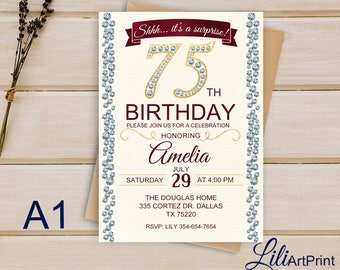 Brilliants 75th Birthday Invitation Surprise Any Age Invite Digital File W 76