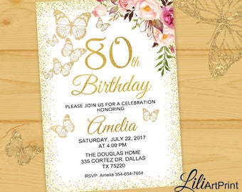 80th birthday invitations etsy 80th birthday invitation floral birthday invitation any age birthday invite birthday party butterfly birthday invitation digital file28 filmwisefo