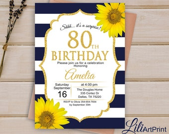 80th Birthday Invitation Navy Invite Floral Women Sunflower Any Age Digital File W60