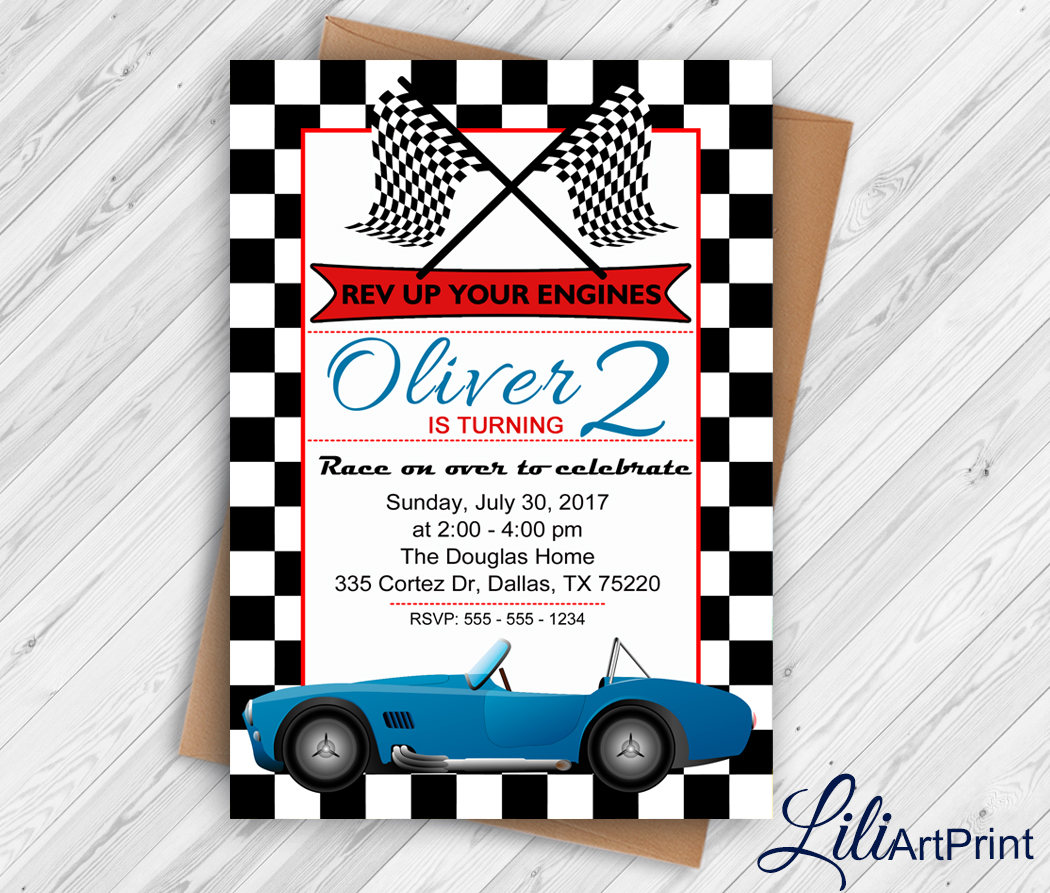Race Car Birthday Invitation Race Car Party Invite 2nd | Etsy
