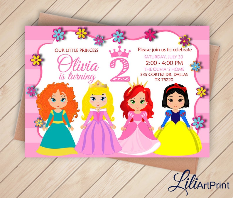2nd Birthday Disney Princess Invitation