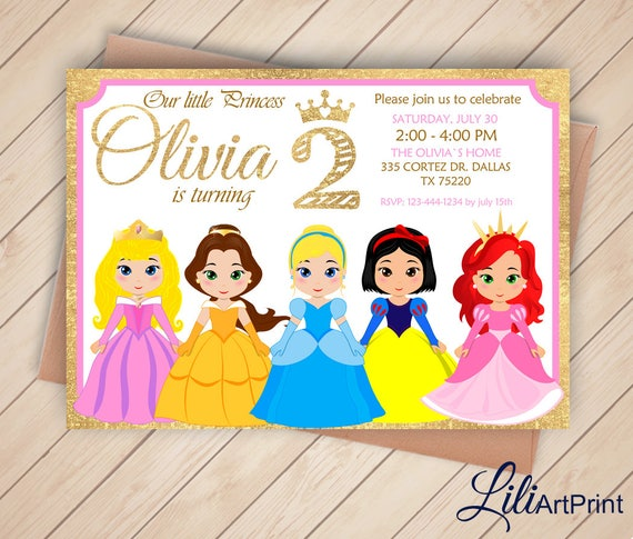 2nd Birthday Disney Princess Invitation Gold