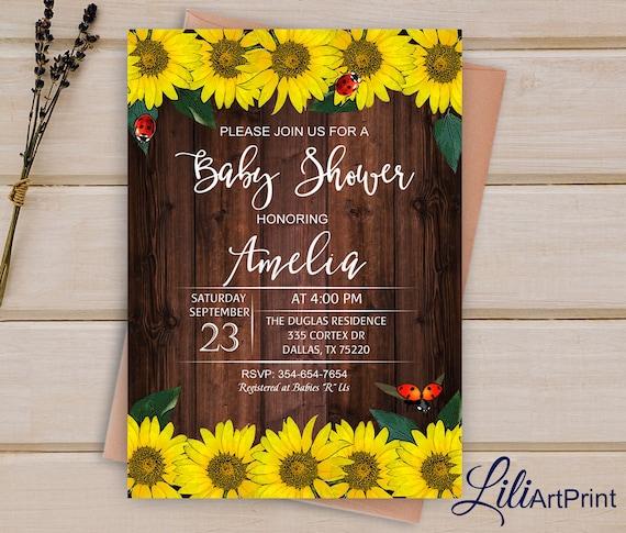 Sunflower baby shower invitation printable baby shower etsy image 0 filmwisefo