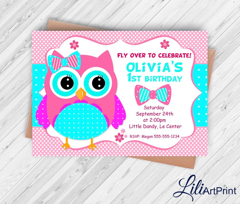 Owl Invitation Owl Birthday Invitation Owl Invite Owl Etsy