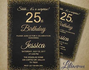 25th birthday invite Etsy