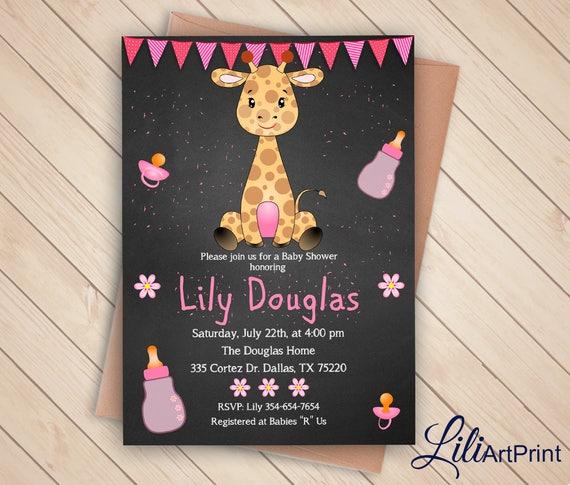 Jirafa Baby Shower Invitación Bebé Ducha Imprimible Niña Baby Shower Invitar Pizarra Bebé Ducha Invitación Archivo Digital 33