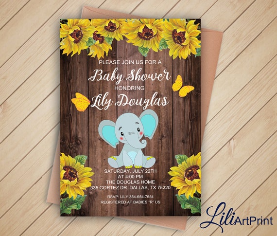 Elephant Baby Shower Invitation Printable Baby Shower Sunflower Baby Shower Invite Wood Baby Shower Invitation Digital File 26